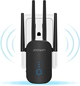 JOOWIN WiFi Extender 1200Mbps Signal Booster for Home WiFi Repeater 1500sq.ft Range 2.4 & 5GHz Dual Band 802.11ac Standard WiFi Range Extender for Home, Easy Setup (Only Support Repeater Mode)