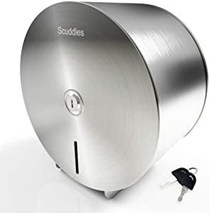 Scuddles Single-Roll Jumbo Toilet Paper Dispenser Stainless Steel for Commercial Or Home Use Wall Mount Dispenser Commercial Holder for Tissue Paper with 2 Keys & Lock for