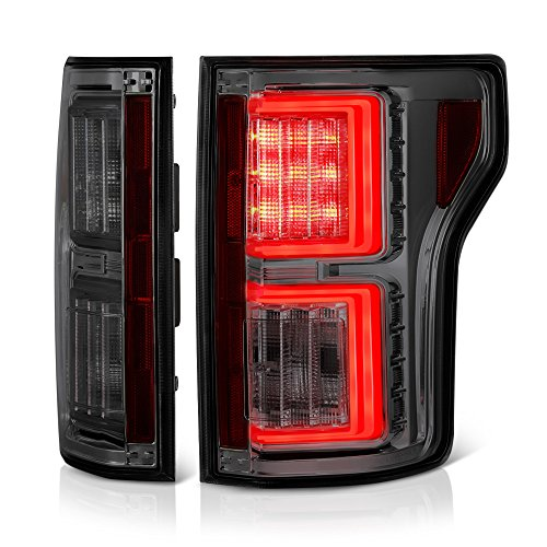 [For 2015-2017 Ford F-150] VIPMOTOZ Premium OLED Neon Tube Tail Light Lamp - Chrome Housing, Smoke Lens, Driver & Passenger Side