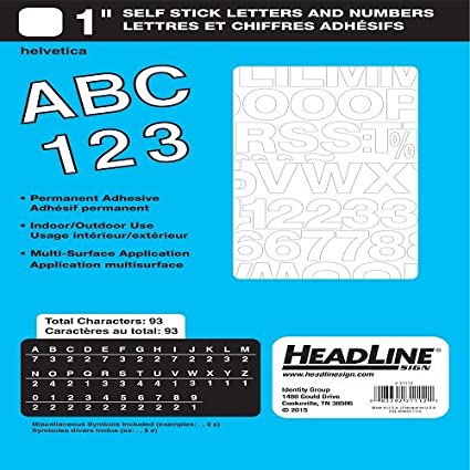 headline sign 31112 stick on vinyl letters and numbers white 1 inch