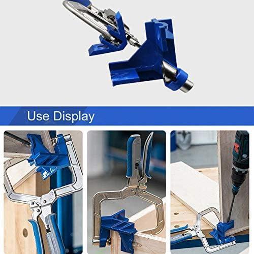 多機能自動調整可能な90度コーナーフェイスフレームクランプ木工直角クリップフィット修正ツール-ブルー