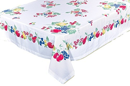 "Vintage-Style Fruit Tablecloth, 52"" x 52"""