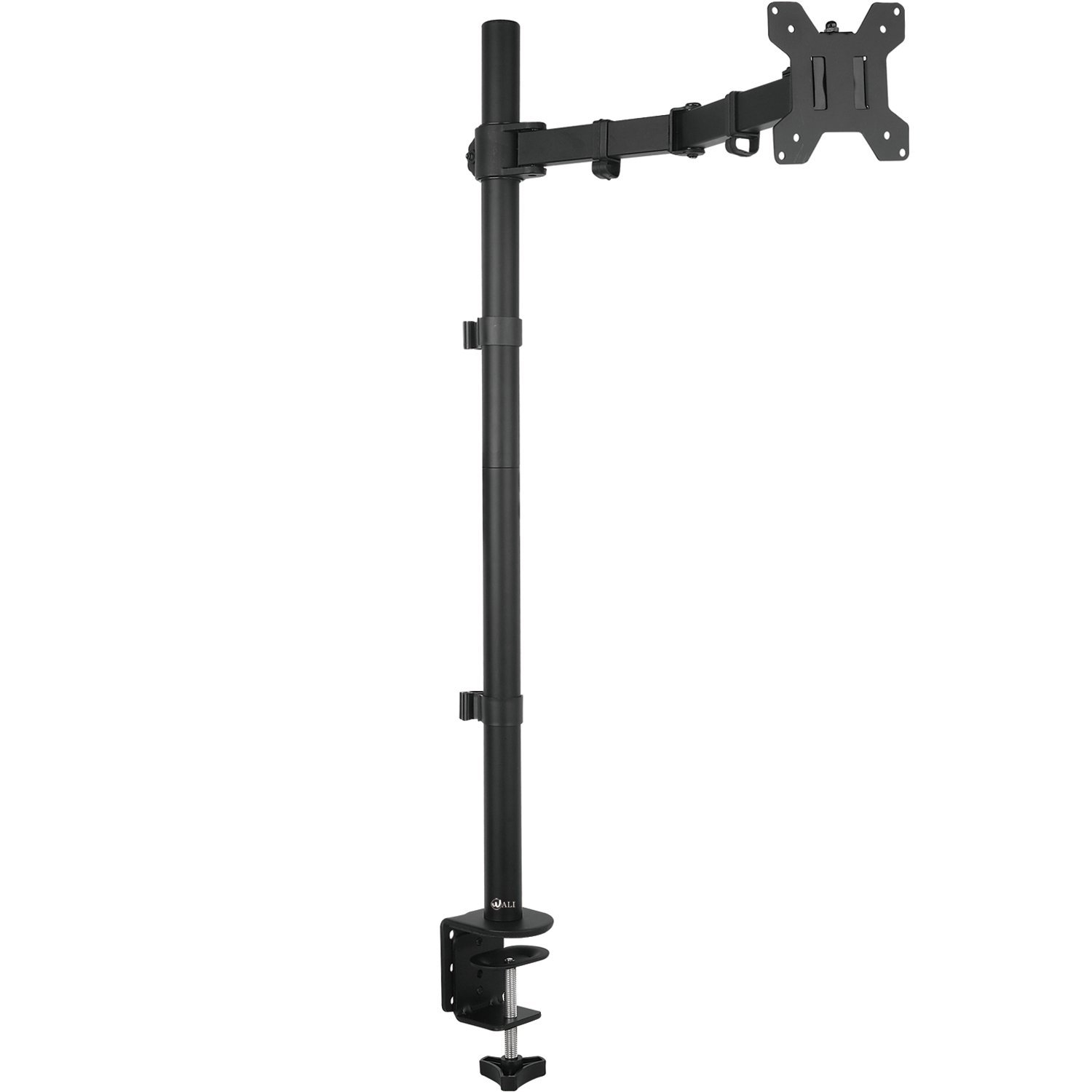 "WALI Extra Tall Single LCD Monitor Fully Adjustable Desk Mount Fits One Screen up to 27"", 22lbs. Weight Capacity (M001XL), Black"
