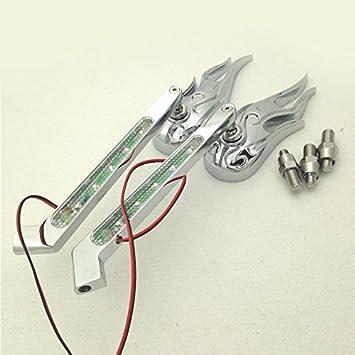 Amazon.com: HONGK- Chromed Flame LED Turn Signal Integrate ...