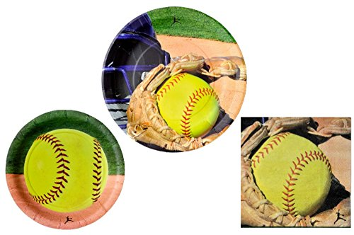 Softball Party Supplies (Softball Party Supplies - Bundle Includes Paper Plates and Napkins for 16)