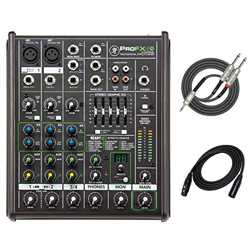 Mackie ProFX4v2 4-channel Professional Effects Mixer with XLR Male - XLR Female Microphone Cable and Breakout Cable