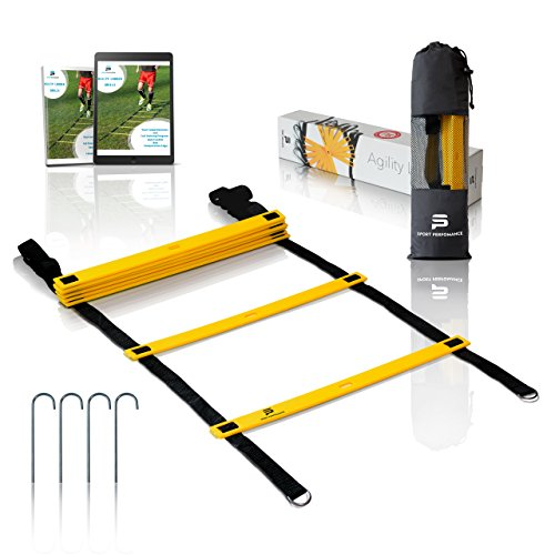 Sport Perfomance | Agility Ladder | Yellow Black |8 rungs 13.5 feet| for the Best Agility Ladder Drills + Ebook, Carry Bag and Metal Ground Pegs(4x)