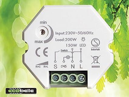 ECOBELLE® Smart Dimmer/Regulador de intensidad por bombillas LED (max 150W) y