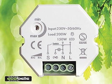 ECOBELLE® Smart Dimmer/Regulador de intensidad por bombillas LED (max 150W) y iluminación tradicional (max 200W), 1-200W, Traling Edge: Amazon.es: Bricolaje ...