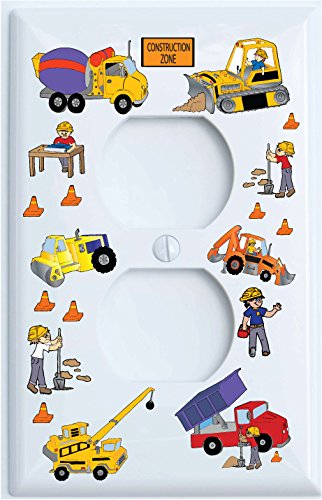 Construction Nylon Outlet Covers / Construction Theme with Bulldozers, Tractors, Cement Truck, Steamroller, Crane, and Dump Truck Childrens Wall Decor. (Outlet Cover)