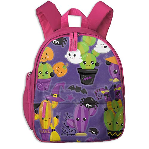 Judascepeda Girls Women Schoolbag Halloween Cactus Clipart Style Children Schoolbag Backpacks Pink With Front Pockets For Youth Boy -