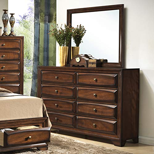 Roundhill Furniture B139DM Oakland 139 Wood Drawers Dresser and Mirror, Antique Oak Finish