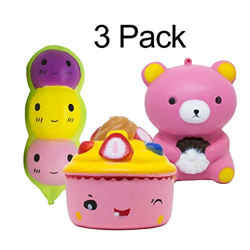 LAZEN Squishies Jumbo Slow Rise Kids SOFT SQUISHY TOYS 3 Pack: BEAN+ICE CREAM CAKE+PINK BEAR Set for Kids and (Big Stick Super Plush Throw)