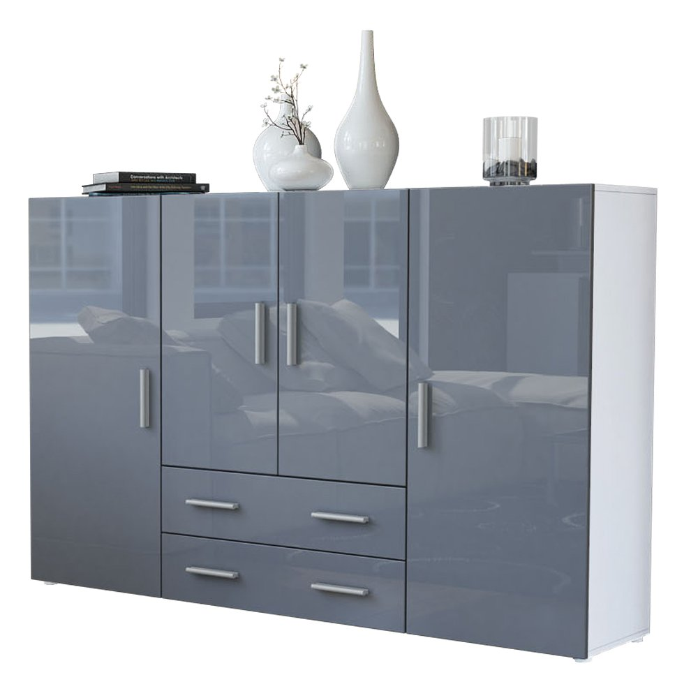 Hervorragend Finest Highboard Sideboard Nora Korpus In Wei Matt Front In Grau Hochglanz  Vladon Amazonde Kche Haushalt With Sideboard Wei Grau Hochglanz With  Highboard ...