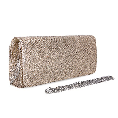 Purse Handbag Detachable Glod Bag Clutch Women Hard Evening with Women ECOSUSI Chain Flap Case for Dazzling w1qOzWy48