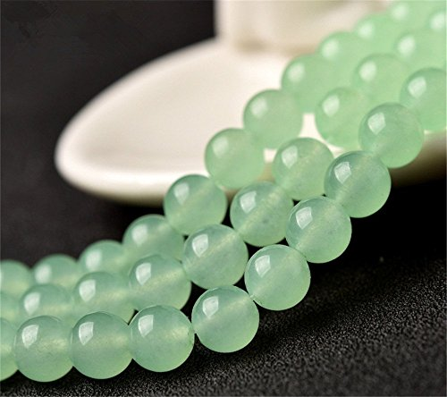 Natural Light Green Jade Beads Smooth Polished Round 4mm-12mm 15.4 Inch Full Strand for Jewelry Making (GJ10) (8mm) (Light Green Jade Bead)