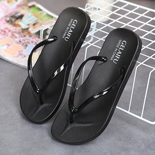 the drag female breathable slippers casual black outdoor slip and stylish simple Cool that lovely and wear beach 37 soft fankou summer leaks anti shoes tHR8qw