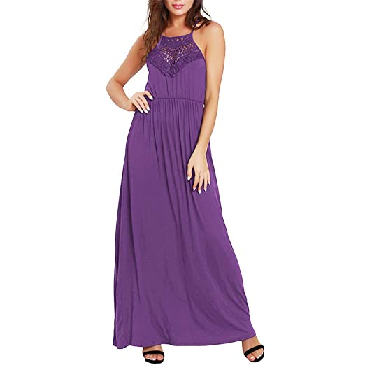 Vestido sin Mangas de Verano para Mujer Vestidos Largos Lisos ...