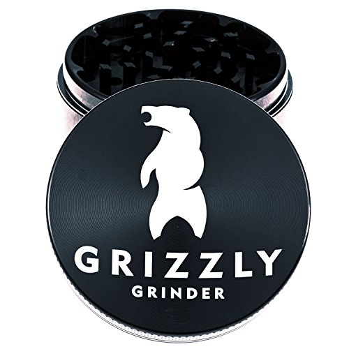 UPC 723980161850, Grizzly Grinder - Large 2.5 Inch 4 Piece Herb Spice Weed Tobacco Grinder - Black