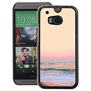 A-type Arte & diseño plástico duro Fundas Cover Cubre Hard Case Cover para HTC One M8 (Sunset Sand Beach Yellow Waves Surf)