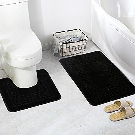 Pauwer 2 Piece Bathroom Rug Sets Durable Non Slip Bath Mats Sets for  Bathroom (Black)  Amazon.co.uk  Kitchen   Home af694add2