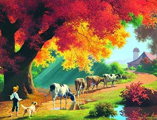 ししゅう糸 DMC糸 クロスステッチ刺繍キット 布地に図柄印刷 放牧牛 B07QPYYPYZ