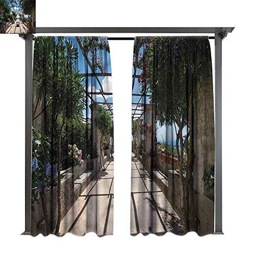 Outdoor Amalfi Table Bar (cobeDecor Thermal Insulated Drapes Italian Villa Rufolo Ravello Amalfi for Lawn & Garden, Water & Wind Proof W120 xL72)
