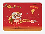 Ambesonne Chinese New Year Bath Mat, Little Boy Performing Lion Dance with the Costume Flowering Branch Lantern, Plush Bathroom Decor Mat with Non Slip Backing, 29.5 W X 17.5 W Inches, Multicolor