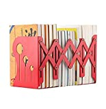 Wendin Bookends Metal Iron Adjustable Books Holder Stand Desk Heavy Duty Nonskid Bookends Red (Large)