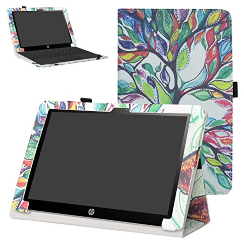 """Mama Mouth PU Leather Folio 2-folding Stand Case Cover for 10.1"""" HP X2 10 10-p010nr 10-p020nr 10-p092ms Tablet(Only fit HP X2 10-p000nr series,not fit HP Pavilion x2 10 10-n000nr series),Love Tree -  Bigmouthstore"""