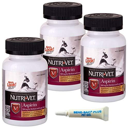 - Nutri-Vet K-9 Aspirin 300mg Chewables for Large Dogs, 75ct (3-Pack w/Gels)