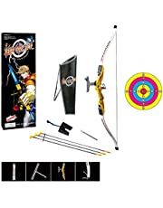 Mainstayae 1:1.8 Archery Shooting Bow and Arrow for Kids Outdoor Hunting Game Suction Cup Arrows Target Quiver Outdoor Garden Fun Game