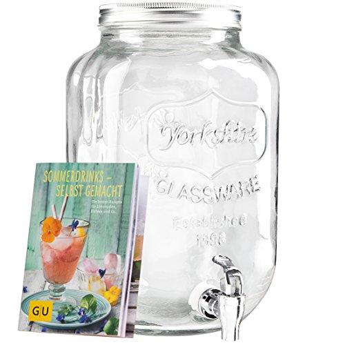 Levivo Getränkespender aus Glas & exklusives GU Booklet Sommerdrinks- selbst gemacht (8 L)