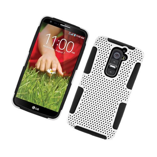 Eagle Cell LG Optimus G2 TPU Net Hybrid Case - Retail Packaging - Black/White (Verizon Lg G2 Bling Case)