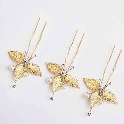 Kercisbeauty Butterfly 3 Leaves Pearl Bridal Bohemian Gold Leaf Hair Pins Headpiece for Wedding and Party -Wedding Vintage Rhinestone and Beads Hairpins Bridal Flower Girl Gold Hair Pins Set of 3