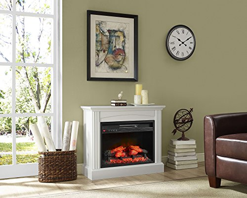 Whalen Furniture Fully Assembled Chesapeake 32' Mantel Electric Fireplace, Pure White