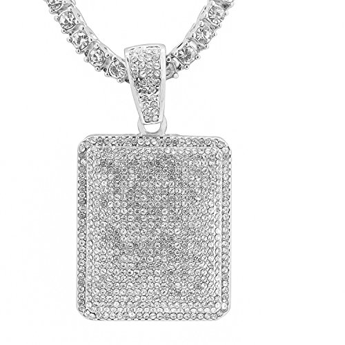 White Gold-Tone Iced Out Hip Hop Bling Rectangle Dog Tag Pendant 1 Row Stones Tennis Chain 16