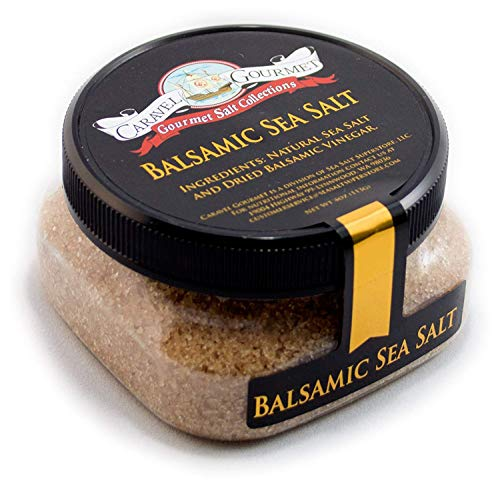 Balsamic Sea Salt - All-Natural Infused Sea Salt Blend with Aged Balsamic Vinegar from Modena, Italy - No Gluten, No MSG, Non-GMO - Cooking and Finishing Salt - 4 oz. Stackable Jar