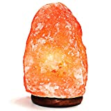 Natural Himalayan Salt Lamp. Hand Carved with Elegant Wood Base (Single Lamp)