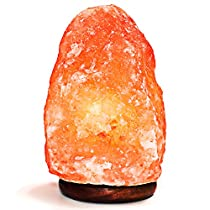 Amethya Natural Himalayan Pink Salt Lamp Hand Carved with Elegant Wood Base. Includes Bulbs