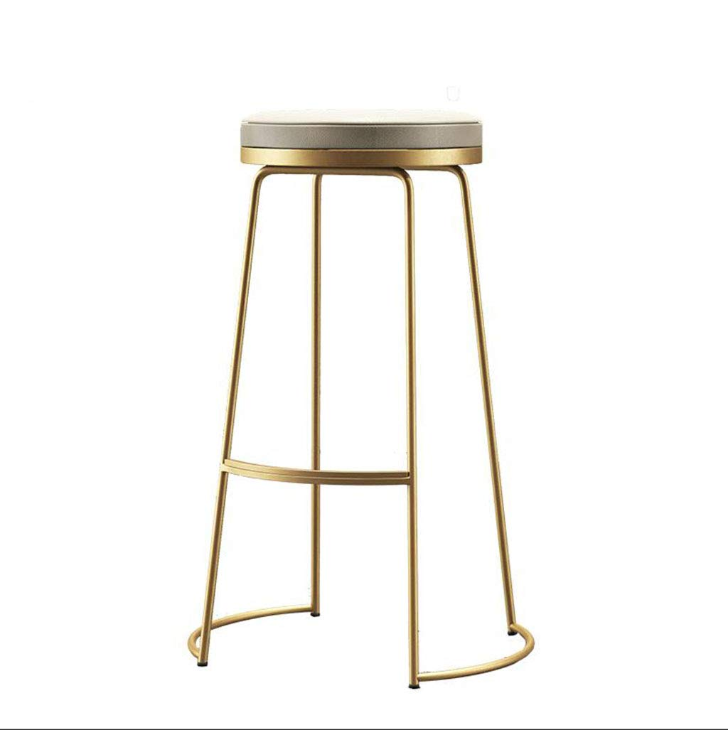 gold 45CM FU CHAIR Metal Wrought Iron Bar Stool Restaurant Cafe Bar Front Desk High Stool Solid color Office Stool Makeup Chair, color  gold, Black, Silver, Sitting Height  45cm, 65cm, 75cm