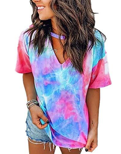 DOSWODE Womens Tie Dye Shirt Short Sleeve Blouses Printed V Neck Tops for Women