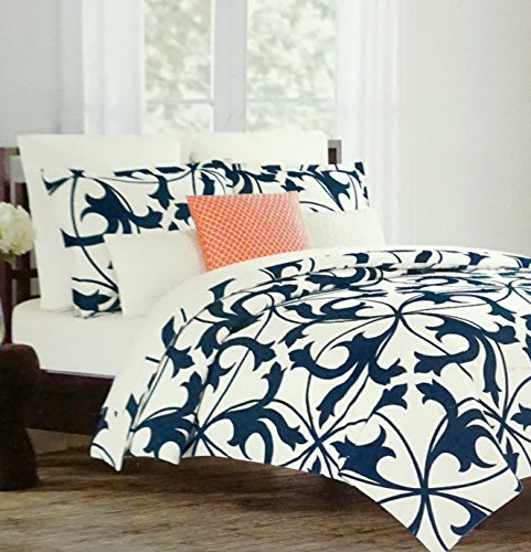 [Tahari Home Luxury Cotton Sateen Duvet Quilt Cover 3 Piece Set Navy Blue Cream Ivory Scroll (Queen)] (Ivory Cream Marble)