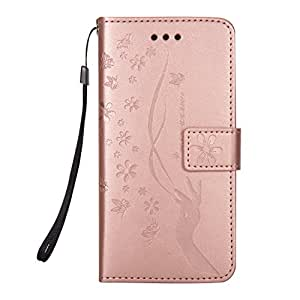 iPhone 7 Plus Wallet Case, iPhone 8 Plus Wallet Case, Ztongy Premium PU Leather Embossed Slender Hand butterfly Flip Magnet Closure Soft TPU Inner Case Credit Card Slots Protective Cover (Rose Gold1)