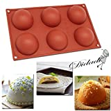 Silicone Baking Mould Hemisphere,DiDaDi 6-Cavity Half Circle DIY Cake Baking Mould Silicone Mold for Making Delicate Chocolate Desserts,Ice Cream Bombes,Cakes,Soap etc