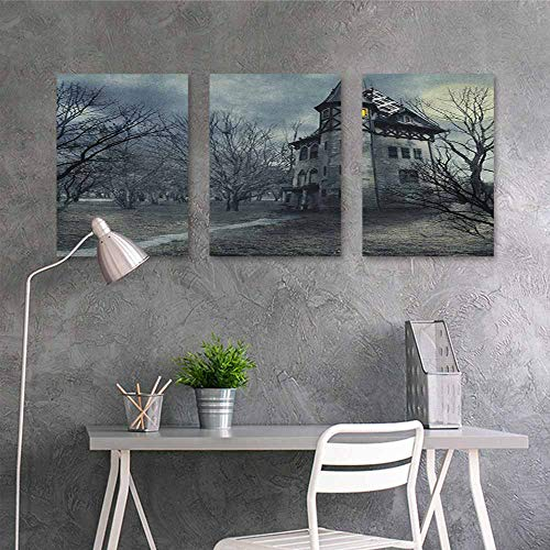 HOMEDD Canvas Print Artwork Sticker,Halloween Halloween Design with Gothic Haunted House Dark Sky and Leafless Trees Spooky Theme,On Canvas Abstract Artwork 3 Panels,24x47inchx3pcs Teal]()