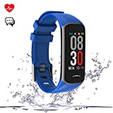 Fitness Tracker, Activity Tracker Watch with Heart Rate Monitor, Smart Watch with Message Reminder and Step Counter, Smart Bracelet with Blood Pressure and Sleep Monitor (Blue)