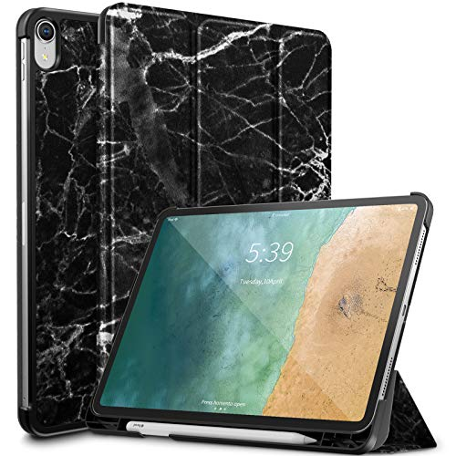 Infiland iPad Pro 11 Case with Apple Pencil Holder,Tri-Fold Case Cover Compatible with iPad Pro 11 Inch 2018 Release (Support 2nd Gen Apple Pencil Wireless Charging, Auto Wake/Sleep), Black & Marble ()
