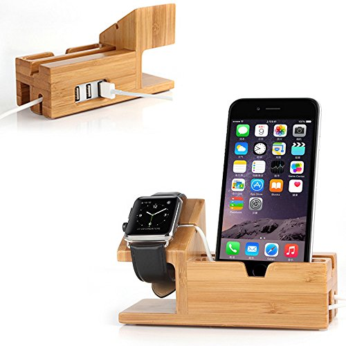 Apple Watch Stand with USB 2.0 Hub, Mignova iWatch Bamboo...