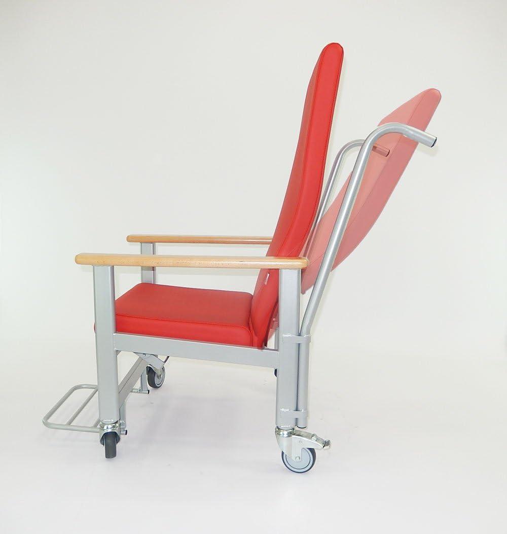 Sillón geriátrico reclinable con ruedas, chasis de metal para cientos de kilos